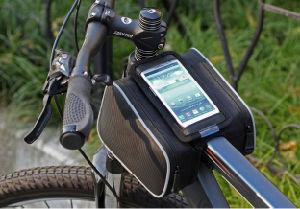 Twin Pocket Mini Bicycle Frame Front Tube Bag & Phone Holder