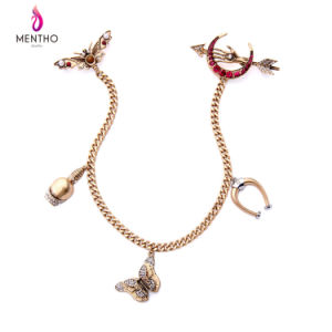 New Elegant Retro Alloy Butterfly Heart Shaped Inlaid Rhinestone Long Women′s Brooch pictures & photos