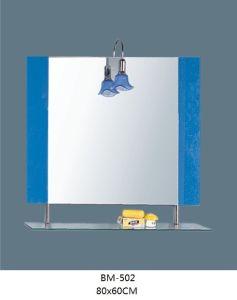 Bathroom Glass Mirror with Glass Shelf with Light