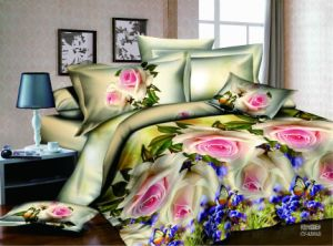 100% High Quality Cotton Reactive Print 3D Bed Cover pictures & photos