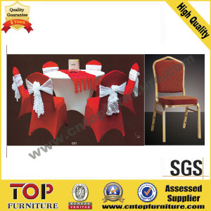 Metal Wedding Stacking Banquet Chair with Red Chaircover pictures & photos