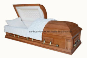 Oak Soldi Wood Casket with Metal Handles pictures & photos