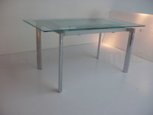 Modern Extendable Temper Glass Top Chrome Steel Foot Dining Table (NK-DT004) pictures & photos