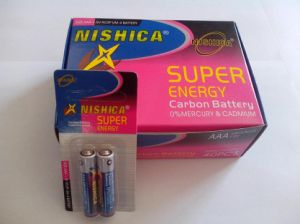 R6p R03p Zinc Carbon Battery in 2PCS Small Card Pack (Nishica) pictures & photos