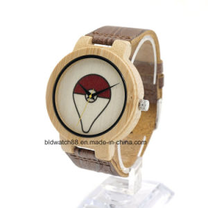 Fashion Unique Bamboo Face Wood Watch with Leather Band pictures & photos