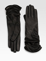 Women Leather Gloves Elastic Cuff Medium Length (WTS886)