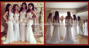 Evening Bridesmaid Dress Two Pieces Mermaid Lace Bridal Wedding Dress Rr9010 pictures & photos