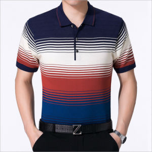 Contemporary Silk Stripe Gradient Ramp Ringer Men Polo Tee pictures & photos