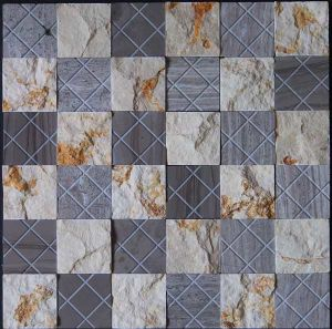 Natural Surface Wall Tile Marble Stone Mosaic (HSM190) pictures & photos