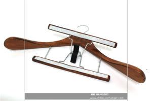 Antique Wooden Walnut Clamp Suit Hanger for Cloth Wooden Clothes Hanger Hangers for Jeans pictures & photos