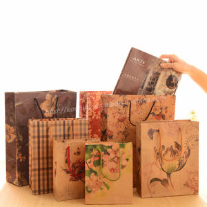 Printed Kraft Paper Bag 200GSM with Flat Paper Handles pictures & photos