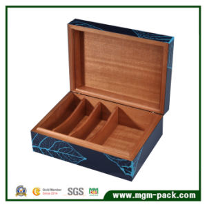 Blue Lacquer Cedarwood Cigar Box with Leaf Inlay pictures & photos