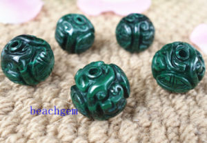 Natural Malachite Carved Dragon Shape Beads