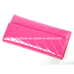 Good Quality Pink Shiny Patent PU Long Shape Fashion Ladies Wallet (KCW32) pictures & photos