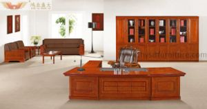 Fsc Certified Reddish Brown Office Executive Desk for Office Furniture pictures & photos