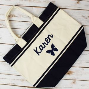 Navy Blue Butterfly Cotton Beach Bag pictures & photos