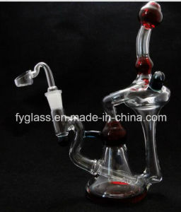 Glass Water Pipe with Sporting Rube Red Deduxe Recyclers 11nch pictures & photos