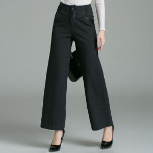 Bospoke High Waist Women Casual Wide Leg Trousers Pants pictures & photos