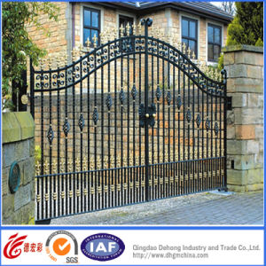 Elegant Simple Hot Galvanized Wrought Iron Residential Gate pictures & photos