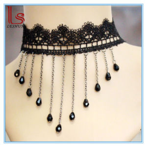 Fashion Accessories Lace Black Crystal Droplets Tassel Necklaces pictures & photos
