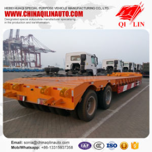 2lines 4axles 40-60tons Truck Lowboy Lowbed Low Bed Semi Trailer pictures & photos