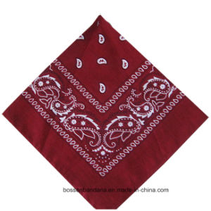 Customized Logo Printed Head Wrap Promotional Red Paisley Cotton Bandana pictures & photos