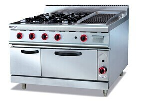 Gas Range with 4-Burner and Lava Rock Grill and Oven pictures & photos