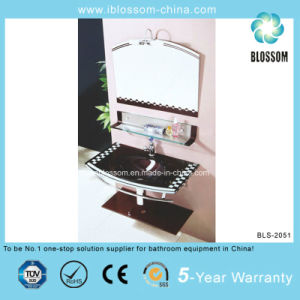 Stainless Steel Frame Bathroom Caninet Lacquer Glass Washing Basin (BLS-2051) pictures & photos