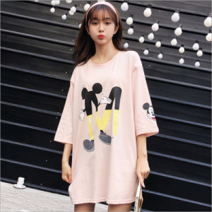 Cartoon Apparel Graphic All-Match Relax Cutey Floral Students Long T-Shirt pictures & photos