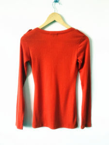 Women Fashion Clothes Long Sleeve N-Neck Rib T-Shirt pictures & photos