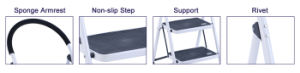 En131 Certificated 3 Steps Steel Folding Ladder White Color pictures & photos