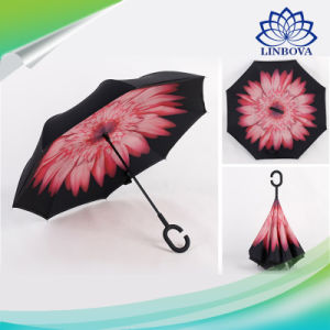 C-Hook Windproof Reverse Umbrella Long Shank Inverted Double Layer Creative Self Stand Rain Protection Umbrella pictures & photos