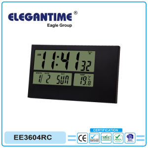 Portable Radio Controlled (atomic) Travel Alarm Clock with Large Digital LCD Display of Time, Date, Temp pictures & photos