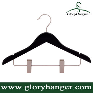Suit Clothing Display Wooden Hanger with Nickel Metal Clips pictures & photos