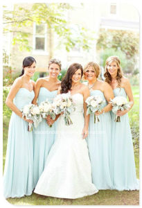 Sky Blue Strapless Long Chiffon Bridesmaid Dress Yao180 pictures & photos