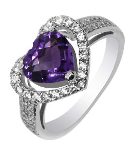 Fashion Amethyst Silver Ring Jewelry (GR0024)