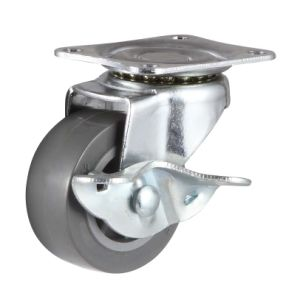 75mm Light Duty Swivel Caster PU (Gray) with Side Brake pictures & photos