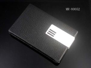 2014 Hot Promotion Stainless Steel PU Leather Card Holder