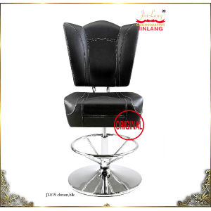 Bar Chairs (Mod. 019 Chrome Footrest, Black Leather With Black Fabric)