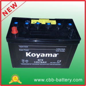Koyam Quality Rechargeable 12V70ah N70 Lead Acid Dry Charged Car Battery with JIS Standard pictures & photos