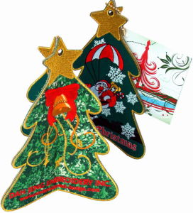 Fabric X′mas Tree - Stand Embroidered Cards pictures & photos