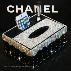 Multifunction Glass Rhinestone Creative Tissue Box Office Household Paper Tray Storage Box (TB-014) pictures & photos