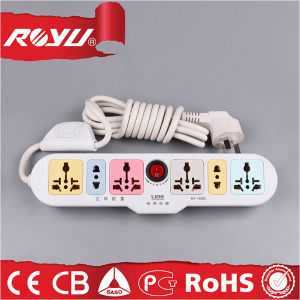 Universal Multicolor 6 Outlet Power Strip with Individual Switches pictures & photos