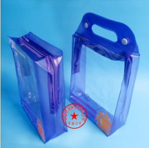 Customized Blue PVC Handle Bag for Toiletries Set with One Zipper (YJ-B035) pictures & photos