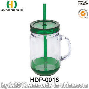 400ml Customized BPA Free Plastic Mason Jar with Handle (HDP-0018) pictures & photos
