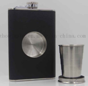 OEM Whisky Stainless Steel Shot Hip Flask with Folding Cup pictures & photos
