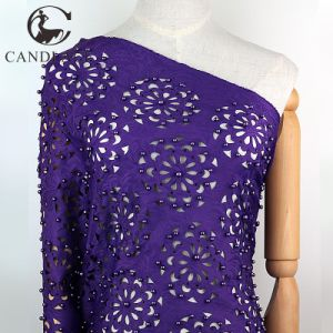 Candlace Purple Color Laser Cut Lace Fabric for Aso Ebi pictures & photos