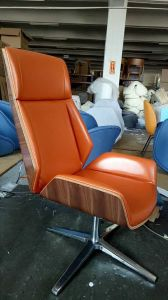 Bended Wood Upholstery Office Chair with Leather and Aluminum Base pictures & photos