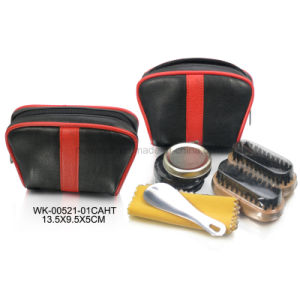 Black Leather 6PCS Shoe Care Tools Travel Small Shoe Care Set Shoe Shine Kit pictures & photos