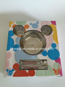 Stainless Steel Gift Fast Food Bowl Micky Dinner Set Xg-006 pictures & photos